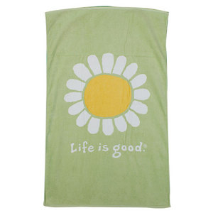 LIFE IS GOOD SUNFLOWER BATH TOWEL CITRON GREEN