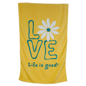 LIFE IS GOOD DAISY LOVE BATH TOWEL SUNNY YELLOW
