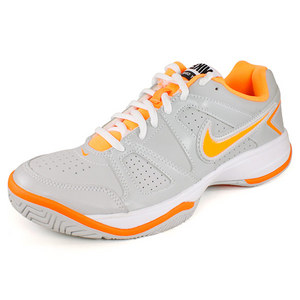 NIKE WOMENS CITY COURT VII SHOES GREY/CITRUS