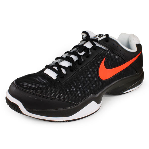 Men's Air Cage Court Tennis Shoes Black And Orange
