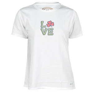 LIFE IS GOOD WOMENS SHAMROCK LOVE TEE CLOUD WHITE