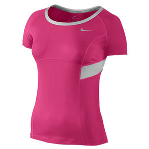 NIKE WOMENS POWER SHORT SLEEVE TOP PINK FORCE
