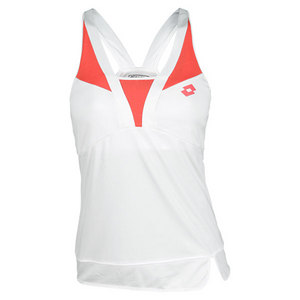 LOTTO WOMENS NATTY TENNIS TANK WHITE/ROSE