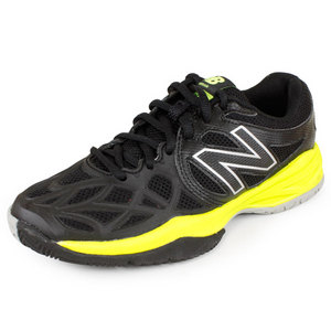 NEW BALANCE JUNIORS KC996 TENNIS SHOES BLACK/GREEN
