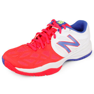 NEW BALANCE JUNIORS KC996 TENNIS SHOES WHITE/PINK