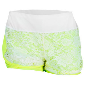 LUCKY IN LOVE WOMENS LACE TENNIS SHORT YELLOW/WHITE