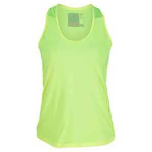 LUCKY IN LOVE WOMENS SOLID RACER BACK TANK YELLOW