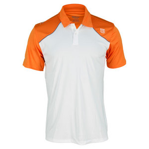 WILSON MENS WELL EQUIPPED TENNIS POLO WHT/ORANG