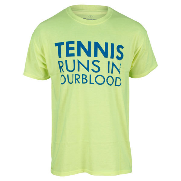 Men's Tennis Runs In Our Blood Tee Neon Yellow