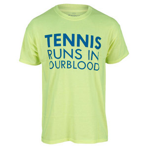 Men`s Tennis Runs In Our Blood Tee Neon Yellow