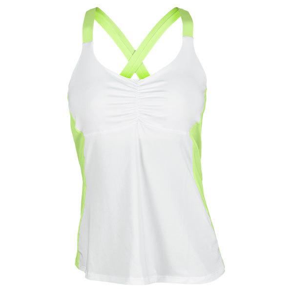 Women's Cross Back Tennis Cami Yellow/White