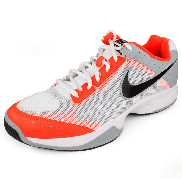 Men's Air Cage Court Tennis Shoes White And Orange