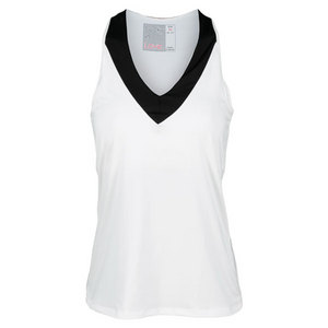 LUCKY IN LOVE WOMENS V NECK RACERBACK TANK WHITE/BK
