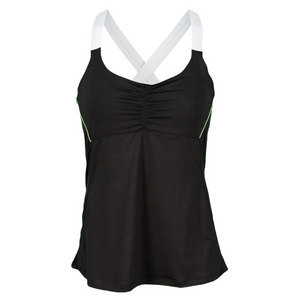 LUCKY IN LOVE WOMENS CROSS BACK TENNIS CAMI BLACK