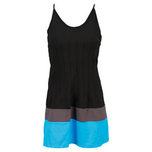 VICKIE BROWN WOMENS MICHELLE TENNIS DRESS BK/GY/TURQ