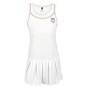 K-SWISS WOMENS PLEATED TENNIS DRESS WHITE/BEIGE