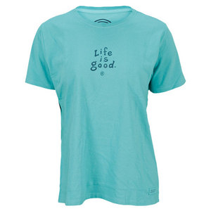 LIFE IS GOOD WOMENS STACKED CRUSHER TEE AQUA BLUE