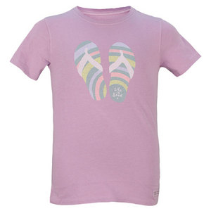 LIFE IS GOOD GIRLS RIPPLE FLIP FLOPS TEE SOFT PURPLE