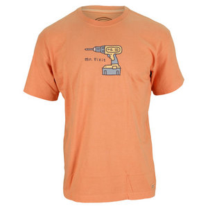 LIFE IS GOOD MENS MR FIXIT CRUSHER TEE SUNSET ORANGE