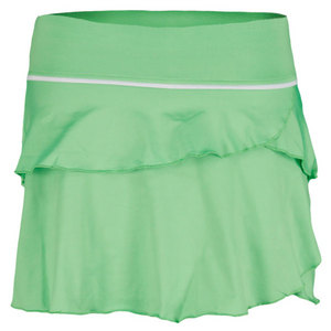 LITTLE MISS TENNIS GIRLS SOFT RUFFLE SKIRT W/BIKERS LIME