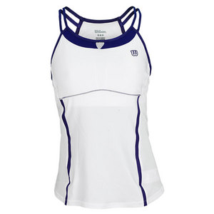 WILSON WOMENS BALL BUSTER TENNIS TANK WHITE/INK