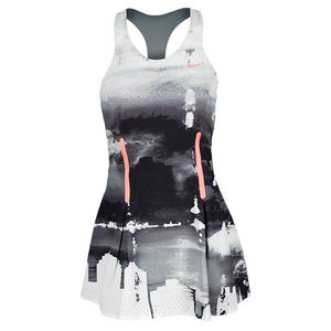 NIKE WOMENS PREMIER MARIA PRINT DRESS WH/BK