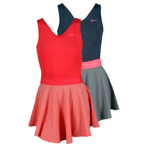 NIKE WOMENS HEATHERED V NECK TENNIS DRESS