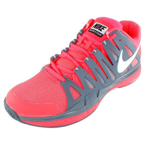 Men's Zoom Vapor 9 Tour Tennis Shoes Atomic Red And Armory Slate