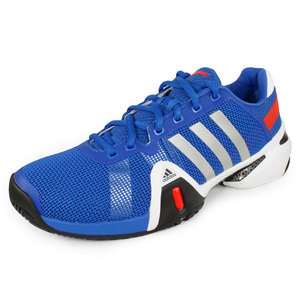 adidas MENS BARRICADE 8 SHOES BLUE/SILVER/RED