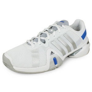 adidas MENS BARRICADE 8 SHOES WHITE/SILVER/BLUE