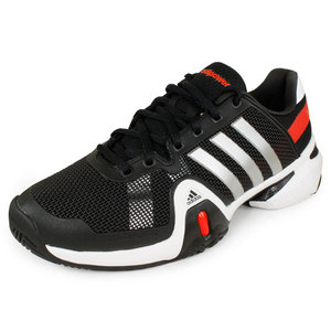 adidas MENS BARRICADE 8 SHOES BLACK/SILVER/RED