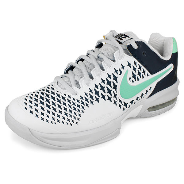 Women's Air Max Cage Tennis Shoes White And Navy