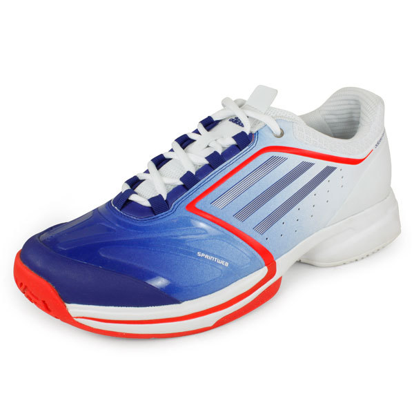 Women`s Adizero Tempaia II Synthetic Tennis Shoes Blue and White