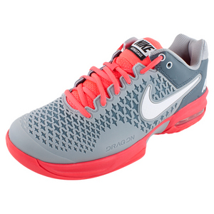 NIKE MENS AIR MAX CAGE TENNIS SHOES GY/RD