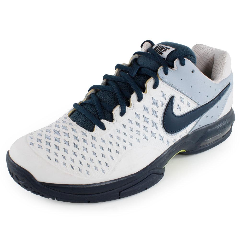 Men's Air Cage Advantage Tennis Shoes White And Light Blue