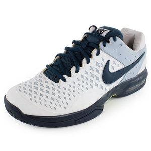 Men`s Air Cage Advantage Tennis Shoes White and Light Blue