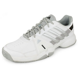 Men`s Adipower Barricade Team 3 Tennis Shoes White and Silver