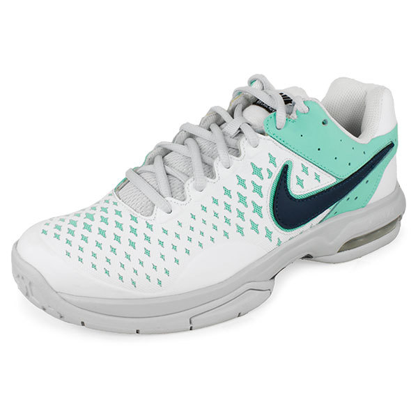 Women's Air Cage Advantage Tennis Shoes White And Green