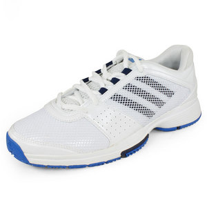 Women`s Adipower Barricade Team 3 Tennis Shoes White and Blue