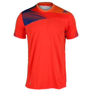adidas MENS ADIZERO TENNIS TEE HI-RES RED