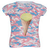 LUCKY IN LOVE Girls` Camo Cone Burnout Tennis Tee Print