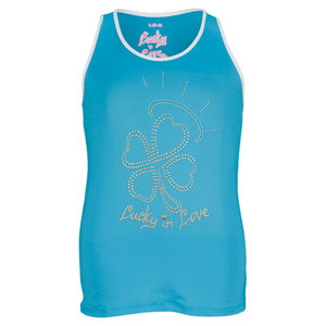 LUCKY IN LOVE GIRLS RHINESTONE TENNIS TANK BLUE