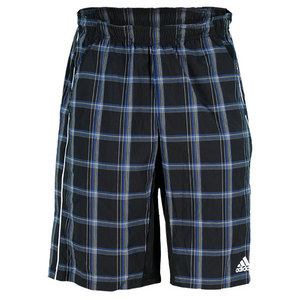 adidas MENS TS PLAID BERMUDA SHORT BK/BLUE