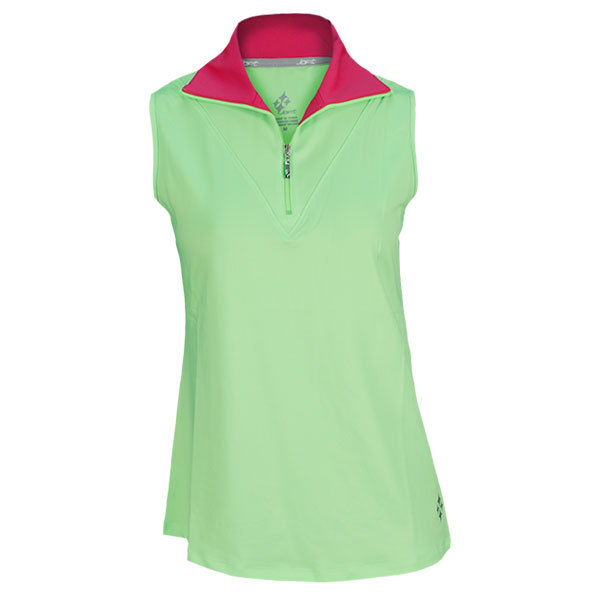 Women's Morocco Sleeveless Fold Over Mock Tennis Top Neon Green