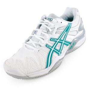Women`s GEL-Resolution 5 Clay Court Tennis Shoes White and Green