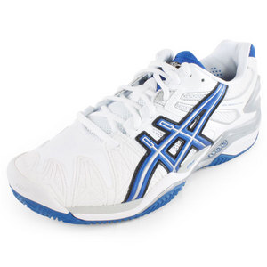 Men`s Gel Resolution 5 Clay Tennis Shoes White and Blue