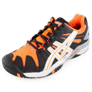 ASICS MENS GEL RESOLUTION 5 TENNIS SHOES BK/OR