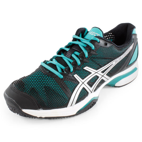 Womens Gel Solution Speed Tennis Shoes Black/Aqua Green/Silver