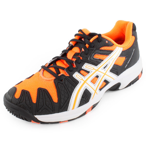 Juniors Gel Resolution 5 GS Tennis Shoes Black and Neon Orange The flagship performance shoe of Asics tennis just got better The Asics Juniors Gel Resolution 5 GS Tennis Shoes is perfect for the Junior tennis player The Gel Resolution 5 GS provides exceptional upper flexibility and performance while continuing its re