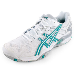 ASICS WOMENS GEL RESOLUTION 5 SHOES WHITE/AQUA